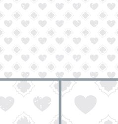 White Vintage Poker Hearts Distressed Background vector image