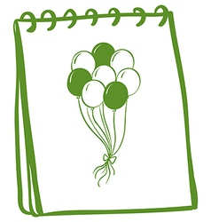 A notebook with a drawing of balloons at the cover vector image vector image