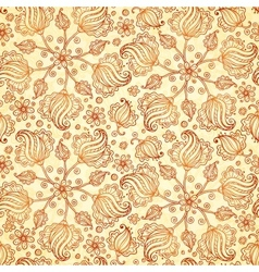 Beige abstract doodle flowers seamless pattern vector image vector image