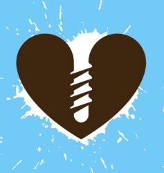 screwed heart vector image vector image