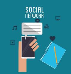 Social network hand hold smartphone dialogue book vector
