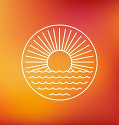 sun emblem in outline style vector image vector image