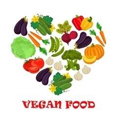 Vegan food heart symbol of vegetables icons vector image vector image