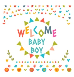 Welcome baby boy shower card Cute postcard with vector image vector image