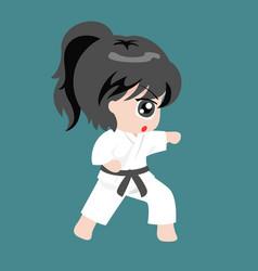 a girl play martial art karate vector image