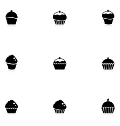Cupcakes icons vector image vector image