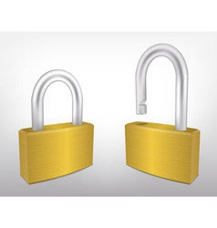 Locked and Unlocked Metal Padlocks vector image