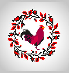 red fire rooster embroidery vector image vector image