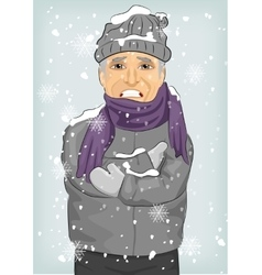 Senior man freezing in winter cold vector