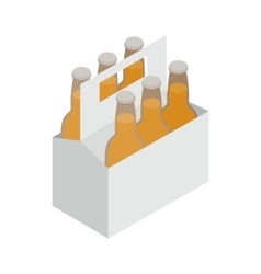 Six bottles in a cardboard box with a handle icon vector image