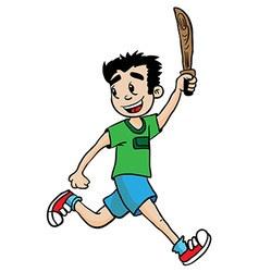 boy with wooden sword vector image vector image