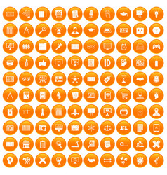 100 plan icons set orange vector