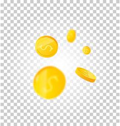 3d realistic gold coins set on white in different vector image