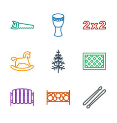9 wood icons vector