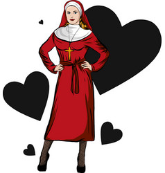 A sexy nun whit hearth vector