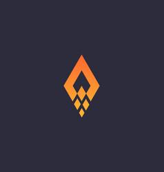 abstract rocket arrow rhombus logo design template vector image