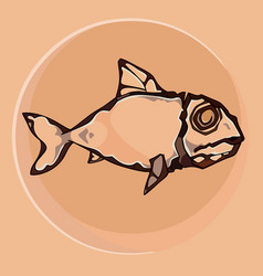 ancient rock drawing fish on a smooth background vector image