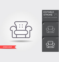 armchair line icon with editable stroke vector image