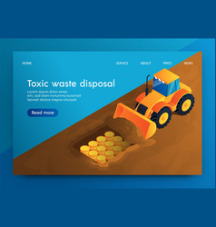 Banner toxic waste disposal underground vector