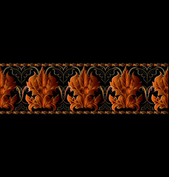 Baroque seamless border pattern luxury floral vector