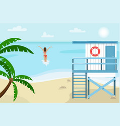beach landscape with lifeguard house vector image