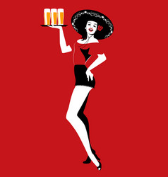 beautiful mexican girl with typical mexican hat vector image