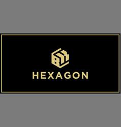 Bk hexagon logo vector