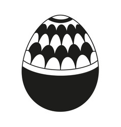 Black and white easter egg with pattern vector