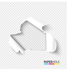 Blank hole in teared paper on transparent vector