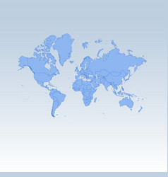 Blue detailed worldmap isolated on white blue vector
