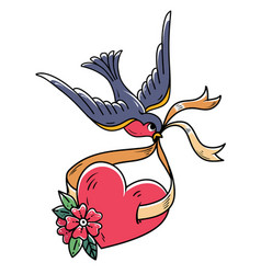 Bluebird carries over red heart on ribbon tattoo vector