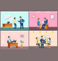 boss and employees in office working process vector image