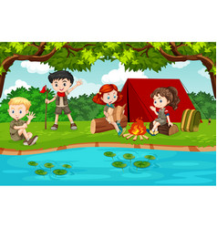 Boy and girl scout camping in nature vector