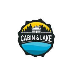 Cabin and lake logo vector