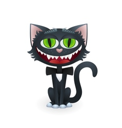 Cartoon Black Cat with Bow Tie vector image