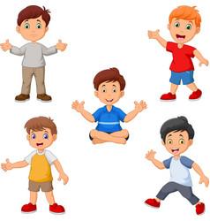cartoon boys collection set vector image