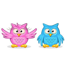 Cartoon funny colored owls vector