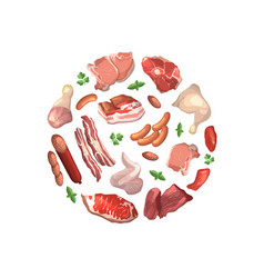cartoon meat elements gathered in circle vector image