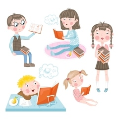 Children make lessons vector image