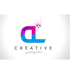 Cl c l letter logo with shattered broken blue vector