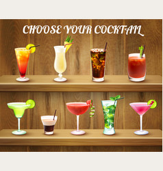 Cocktail drinks choice composition vector