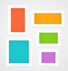 Color picture frames on a wall template for a vector