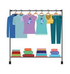 Colorful silhouette of clothes rack with t-shirts vector