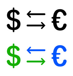 Conversion of dollar and euro icon vector