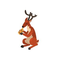 deer playing harmonica cartoon animal character vector image
