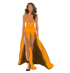 Dirty blonde haired woman in orange dress and vector