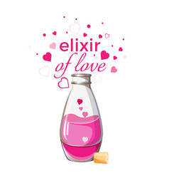 elixir of love bottle with pink liquid and hearts vector image