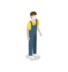 factory worker in uniform isometric 3d icon vector image