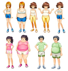 Fat and skinny people vector image