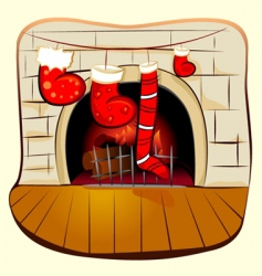 fireplace with Christmas vector image